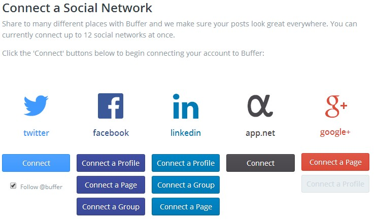 Redes Sociales admitidas por Buffer