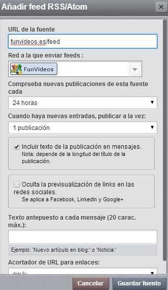 añadir feed hootsuite