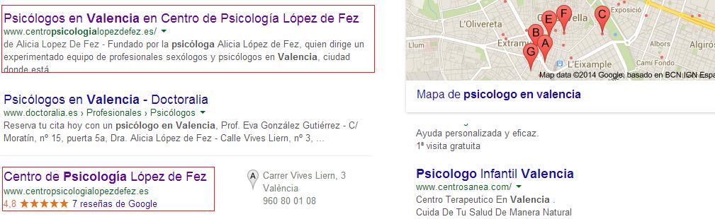 ejemplo de empresa bien posicionada en google maps